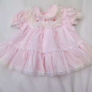 VTG Bryan Baby Dress Pink Swiss Dot Lacy Party